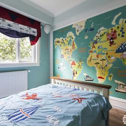 240平复式美式儿童房壁画设计图