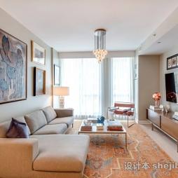 现代风格暖色客厅整体装饰图