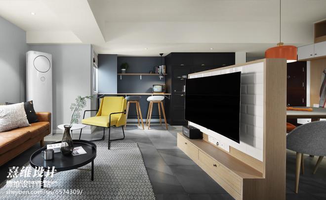 灰色系北欧三居客厅设计图