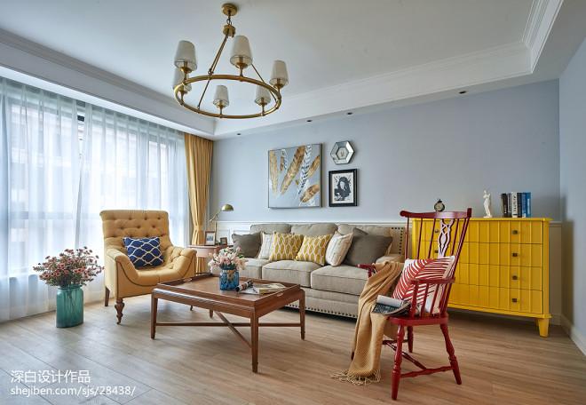 灰色系美式三居客厅设计图