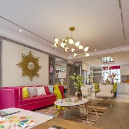 粉色混搭客厅整体设计图