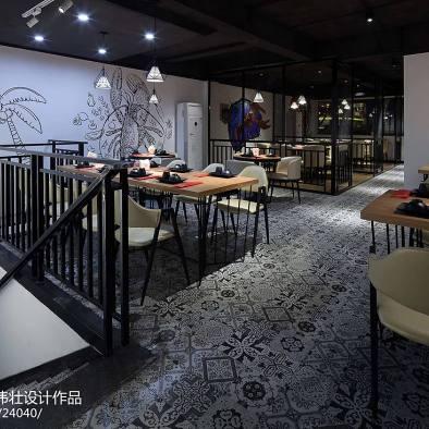 160㎡龙虾主题餐厅就餐区设计图