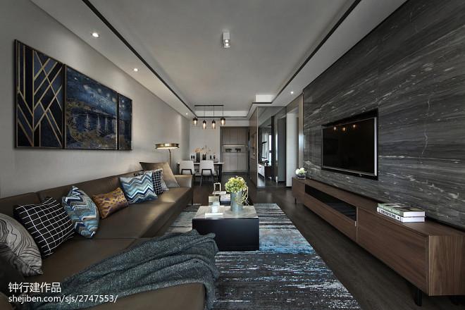灰色系现代二居客厅图