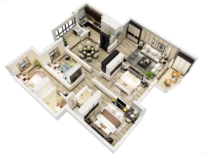 现代简约空间设计_3044009