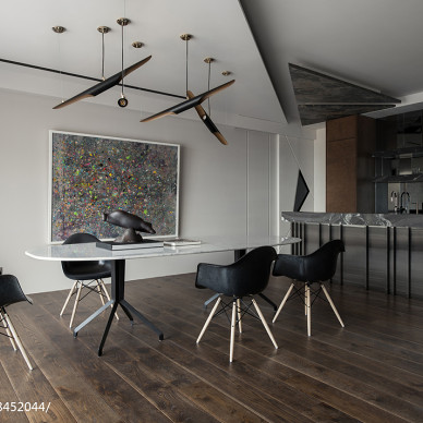 暗色系现代二居餐厅设计图
