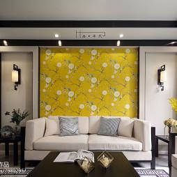 新中式客厅沙发背景墙设计图