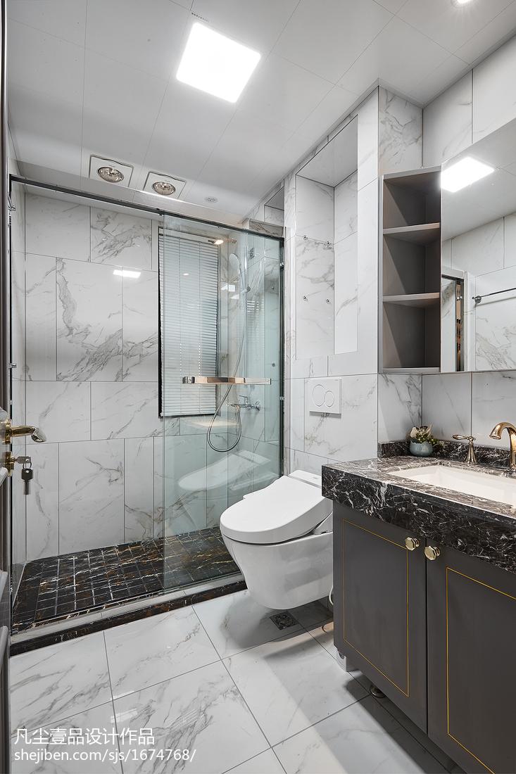 卫生间隔断效果图_法式卫浴设计图片 – 设计本装修效果图