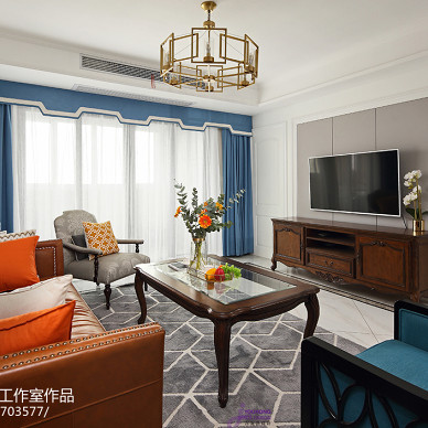 美式三居客厅设计实景图