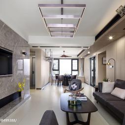 现代四居客厅吊灯实景图