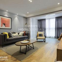 现代三居客厅实景效果图