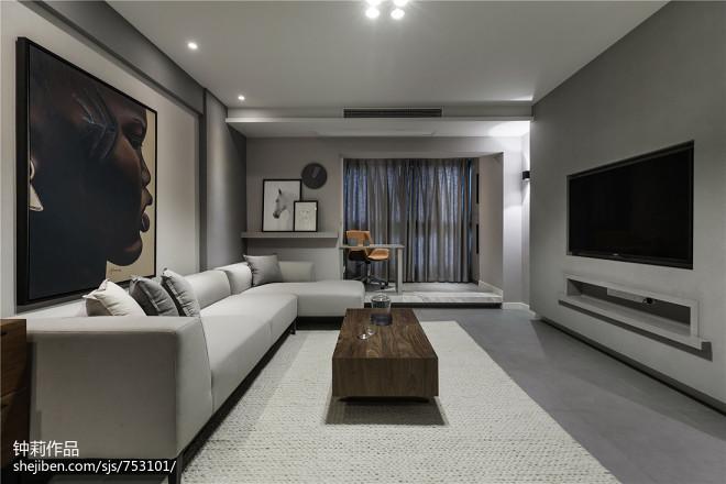 灰色系现代三居客厅实景图