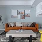 北欧复式客厅背景装饰画设计图