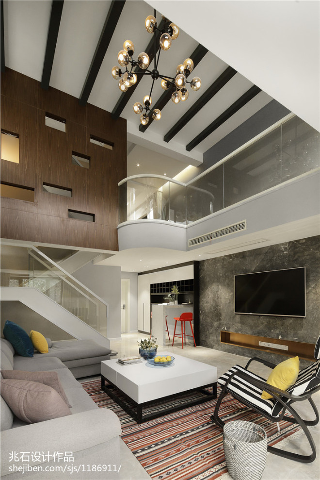 现代别墅客厅吊顶设计图