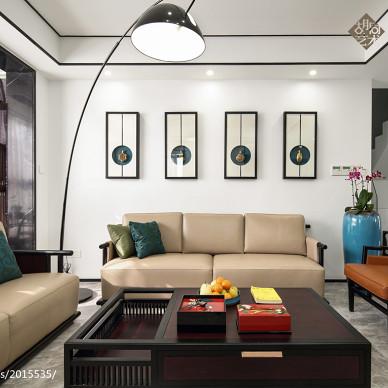 中式三居客厅背景装饰设计图