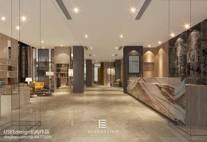现代大厅效果图_酒店空间4000平米装修案例_效果图 - 亚朵酒店 - 设计本