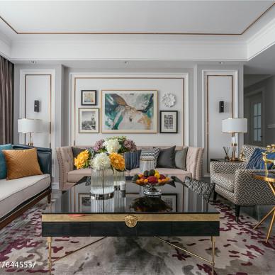 淡雅美式客廳設計圖
