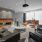 现代两居客厅壁炉设计图