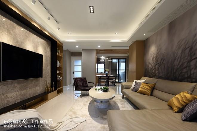 120平方现代客厅设计实景图片