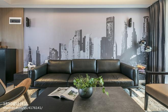 深灰系简约客厅沙发背景设计图