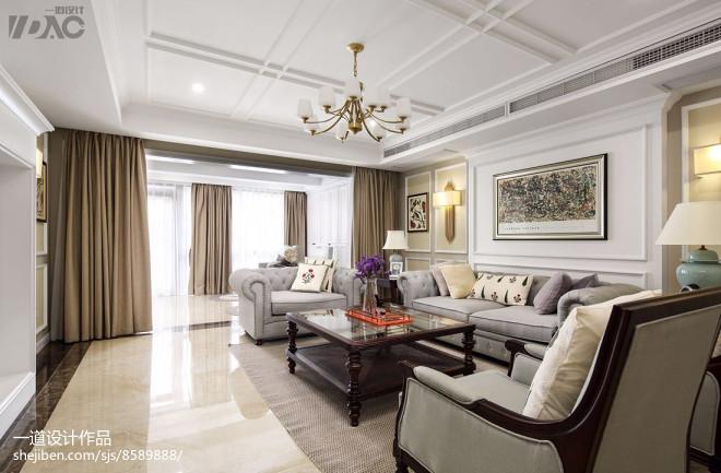 轻奢美式别墅客厅设计实景图