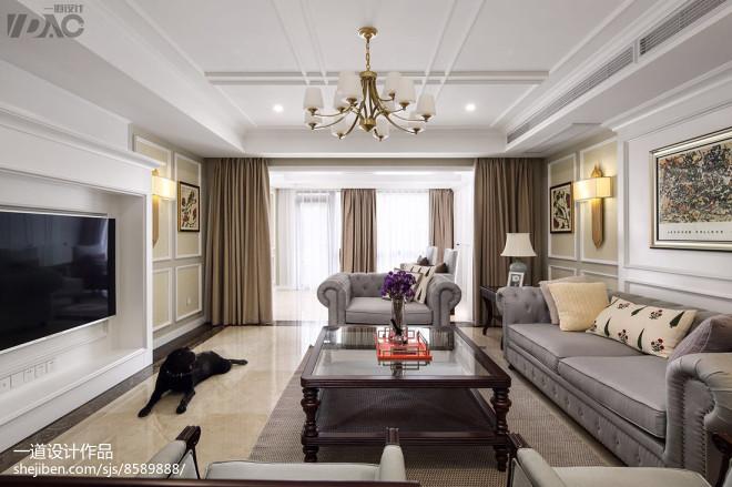 轻奢美式别墅客厅吊灯设计图