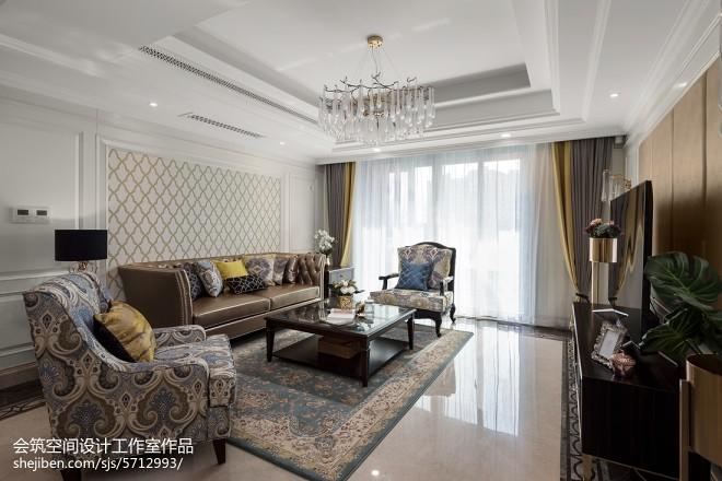 轻奢美式复式客厅设计图片