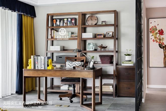 简洁美式三居书房设计图