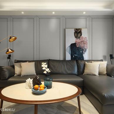 現代四居客廳硬包背景墻設計圖