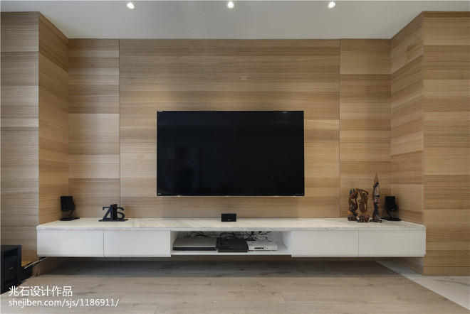 现代木饰面电视背景墙设计图