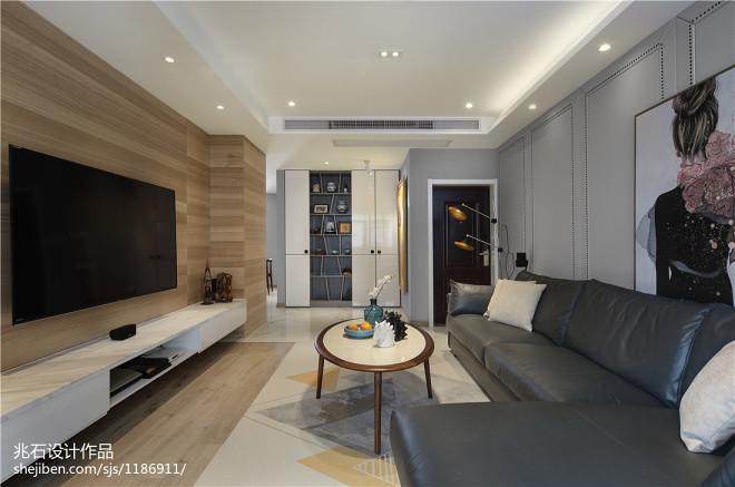 现代四居客厅设计实景图