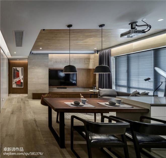 高級灰現代三居餐廳設計圖