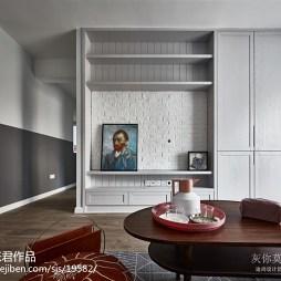 灰色北欧客厅电视组合柜设计图