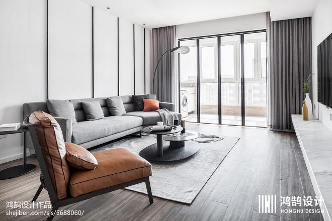 140平现代风客厅沙发背景设计图