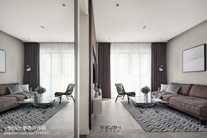 98m²现代风格客厅设计图