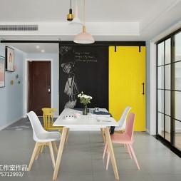 灰蓝色混搭餐厅谷仓门设计