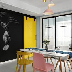 灰蓝色混搭餐厅谷仓门设计图