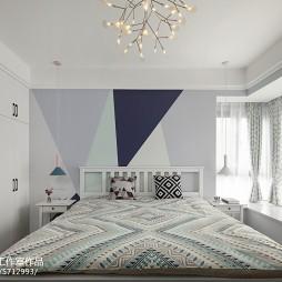 灰蓝色混搭卧室飘窗设计