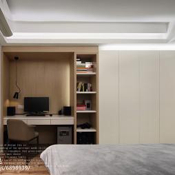 黑灰系现代卧室书柜设计
