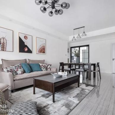 现代简约两居客厅背景画设计