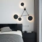 黑白极简卧室壁灯设计