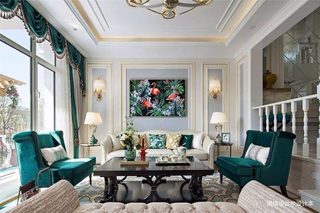 自然美式风别墅客厅设计图