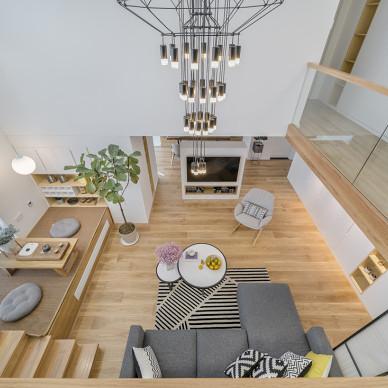 设计师远程设计,福建96平扩大到209平,俯视看客厅美极了!_3255209