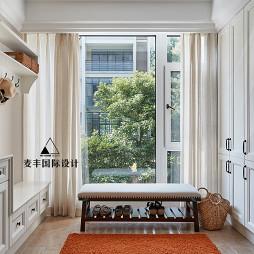 美式復式玄關設計實景圖片