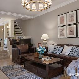 美式复式客厅照片墙设计图