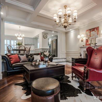 轻奢美式客厅实景图片