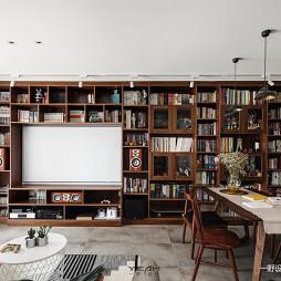 94m2 复古北欧风客厅书柜设计图