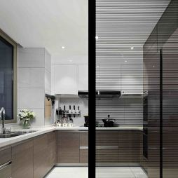 黑白系现代厨房设计图