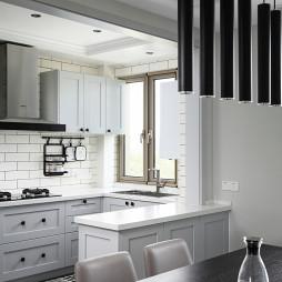 黑白灰美式厨房设计图