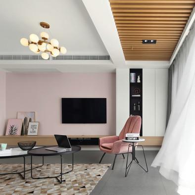 现代粉色系客厅设计图