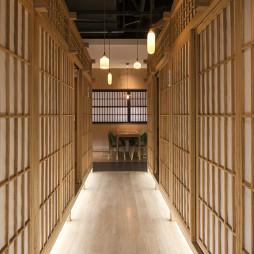 三上日本料理西湖文化广场店包厢过道设计图